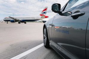 British Airways car waits to transfer passengers on a tight connection