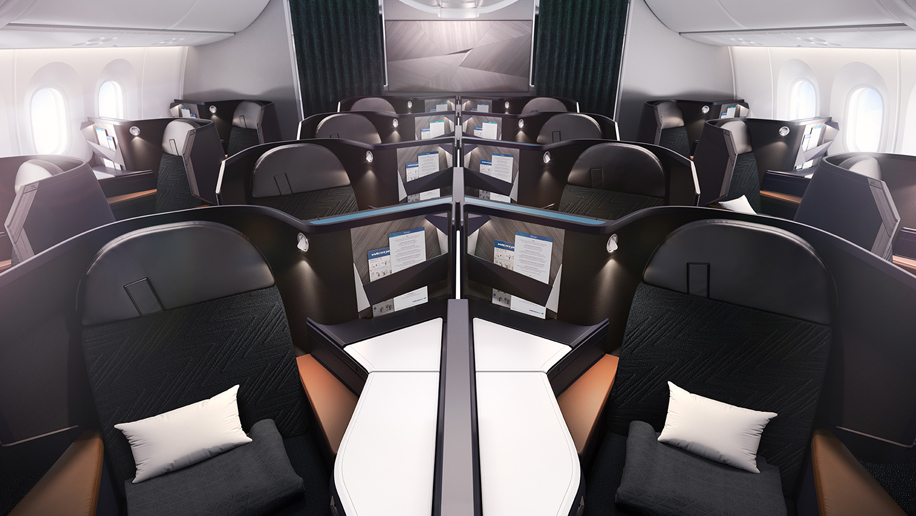 Westjet B787-9 Dreamliner business class