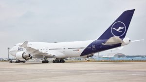 Lufthansa's first B747-400 aircraft in revised livery