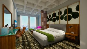 A rendering of a guestroom at the forthcoming Hyatt dual-branded development at LAX