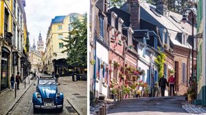 vintage 2CV tour in Lille & a street in Saint-Valery