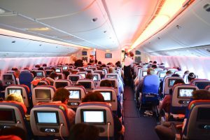 MOSCOW, RUSSIA - APRIL 21, 2014: Aeroflot Boeing-777 interior. OJSC Aeroflot – Russian Airlines is the flag carrier and largest airline of the Russian Federation