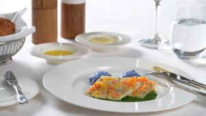 Swiss menu - Ticino-style trout fillet with vegetable brunoise