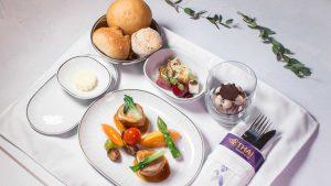 Thai Airways Royal Silk Class menu designed by Mandarin Oriental, Taipei
