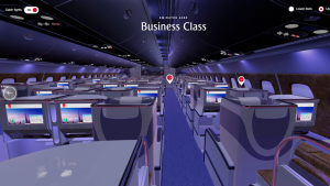Virtual reality 3D seat models on emirates.com