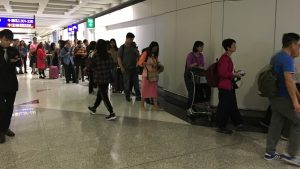 Plaza Premium East Hall lounge queue Hong Kong Airport