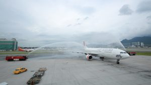 Virgin Australia A330-200 Water Salute in Hong Kong