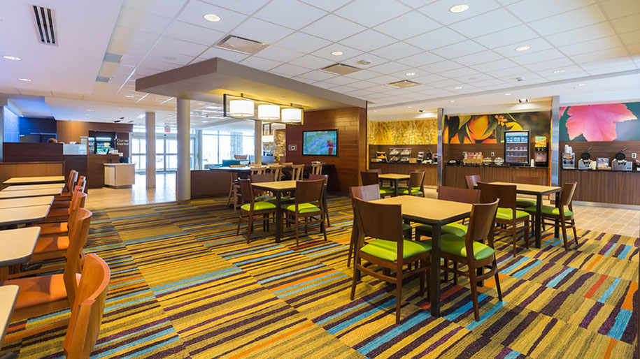 Breakfast room at a Fairfield by Marriott property