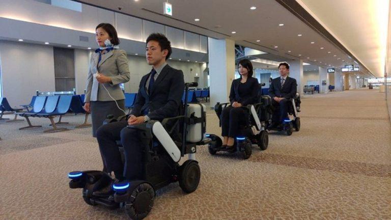 ANA Panasonic self-driving electric wheelchairs at Tokyo Narita Airport