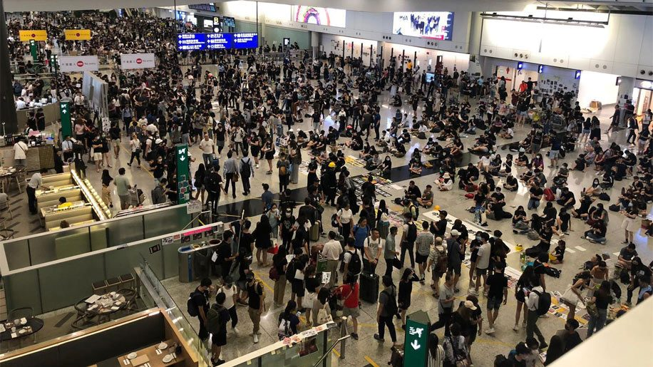 Hong Kong International Airport on Tuesday 13 August, 2019. Image: Jasmine Chan