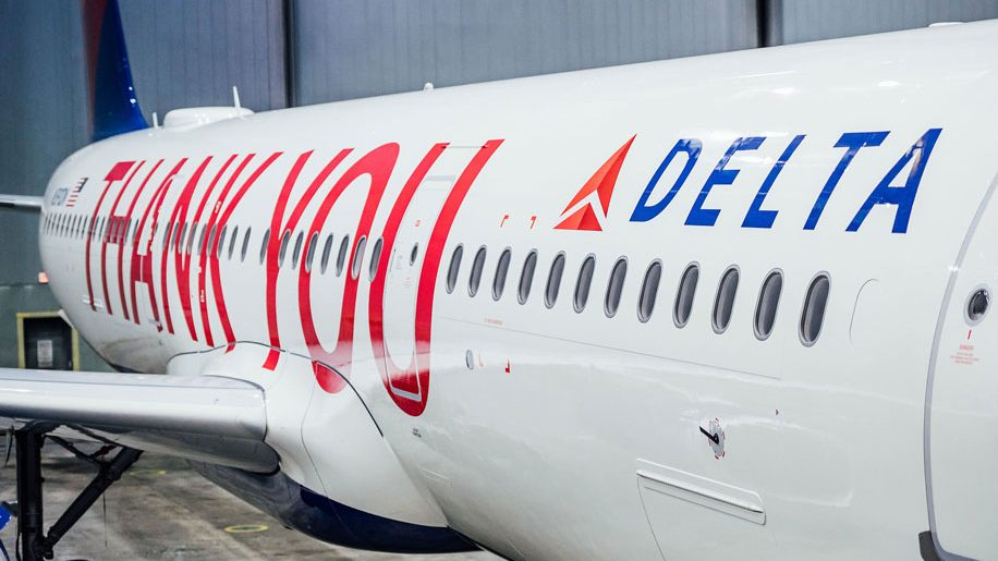 Delta unveils 'Thank You' livery depicting 90,000 employee names - business traveller