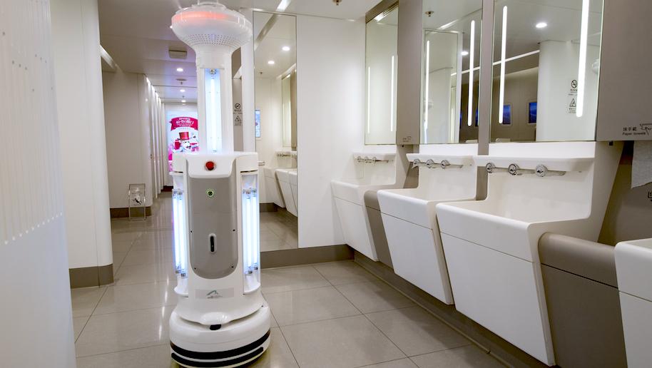 O aeroporto de Hong Kong está usando robôs que matam vírus para desinfetar áreas públicas