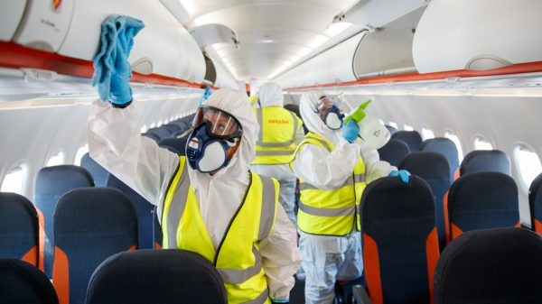 Enhanced cleaning on an Easyjet aircraft