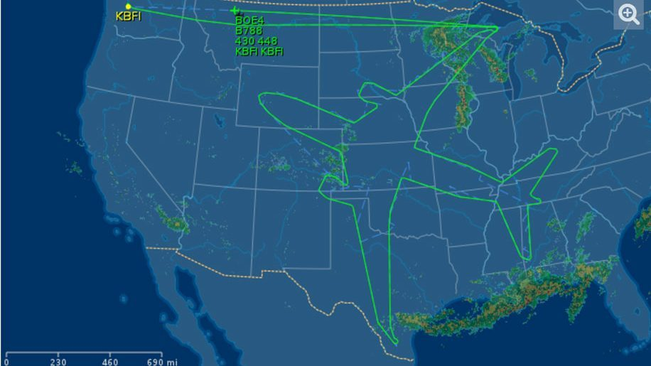 Boeing Uses Flight Path To Draw Dreamliner Across The US - Us Flight Path Map