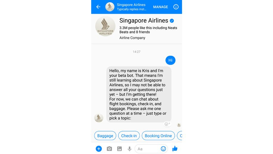 Singapore Airlines is the latest carrier to launch a chatbot