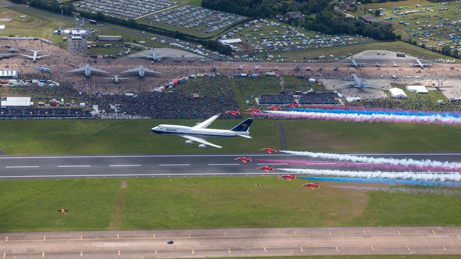 The big picture: British Airways BOAC-liveried jumbo joins Red Arrows fly-past