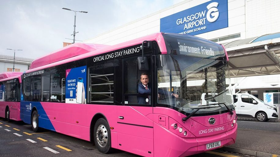 Glasgow becomes first UK airport to operate electric bus fleet
