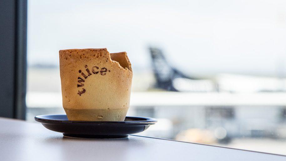 Air New Zealand experimenta xícaras de café comestíveis
