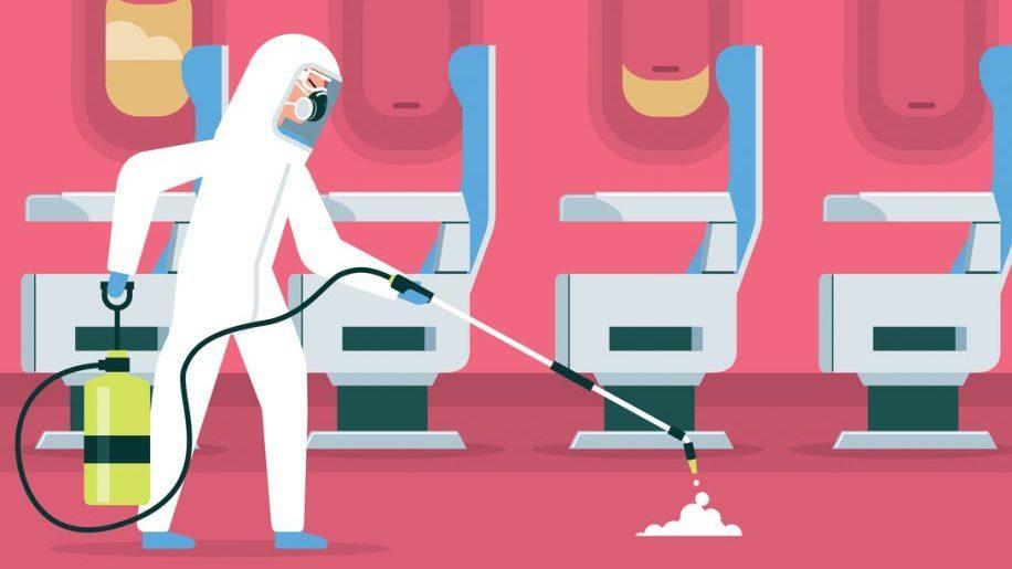Companhias aéreas atacam o coronavírus com produtos de limpeza pesados