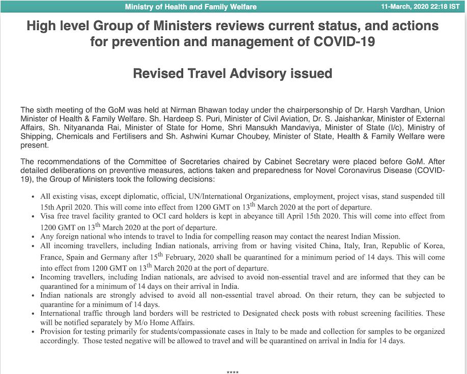 Coronavirus India Suspends All Tourist Visas And E Visas For Travellers Business Traveller